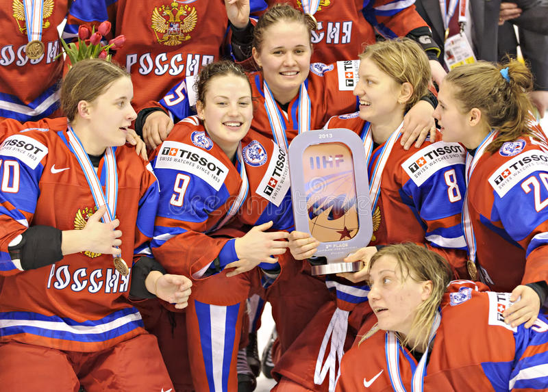 IIHF妇女的冰球世界冠军-铜牌比赛-俄罗斯v芬兰 免版税库存照片