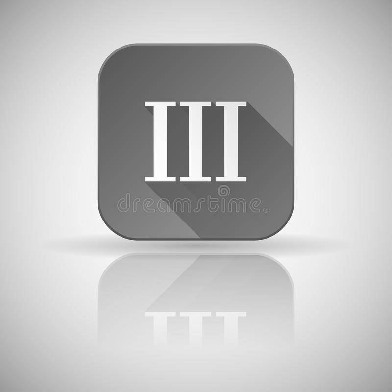 III roman numeral. Grey square icon with reflection. Vector illustration stock illustration