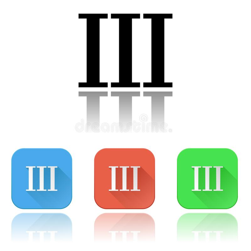 III roman numeral icons. Colored set with reflection royalty free illustration