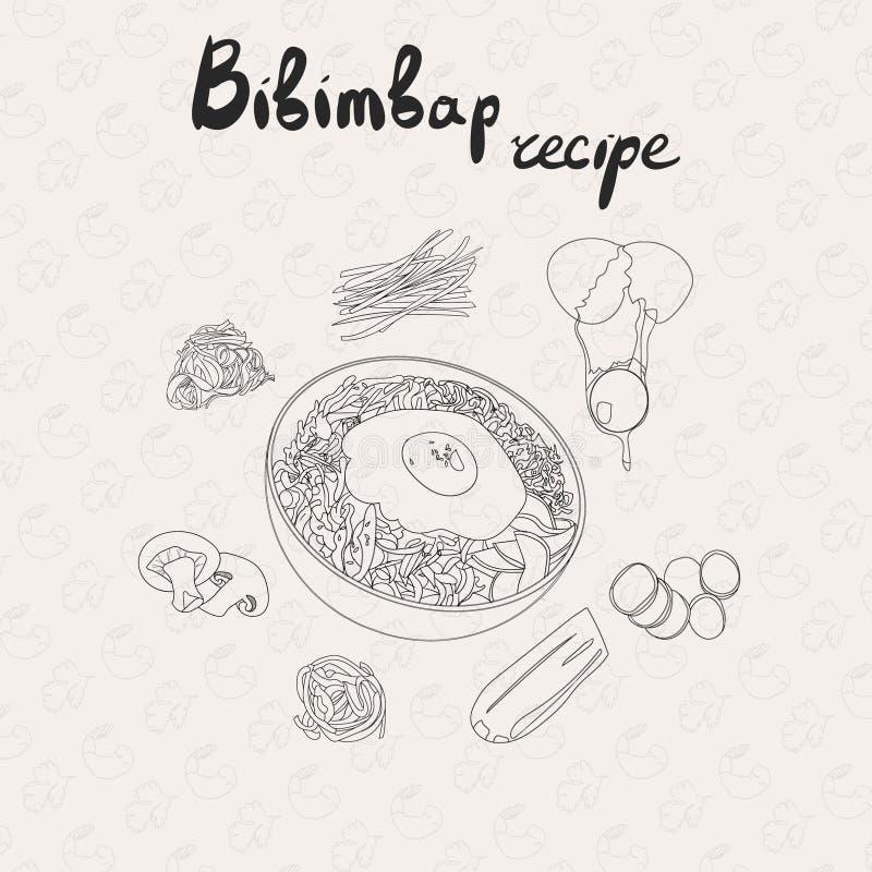 IIllustration για τη συνταγή bibimbap Κορεατικό παραδοσιακό πιάτο Bibimbap με το τηγανισμένο αυγό Σύνολο προϊόντων bibimbap απεικόνιση αποθεμάτων