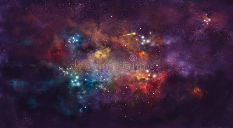 Iillustration, με τη διαστημικά ομίχλη και το δέμα των αστεριών στοκ φωτογραφία με δικαίωμα ελεύθερης χρήσης