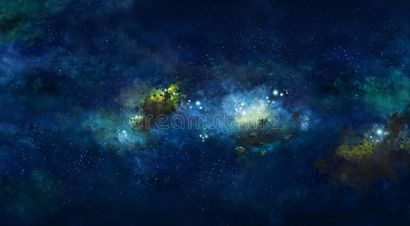 Iillustration, με το διαστημικό μπλε νεφέλωμα και τα αστέρια στοκ εικόνα με δικαίωμα ελεύθερης χρήσης