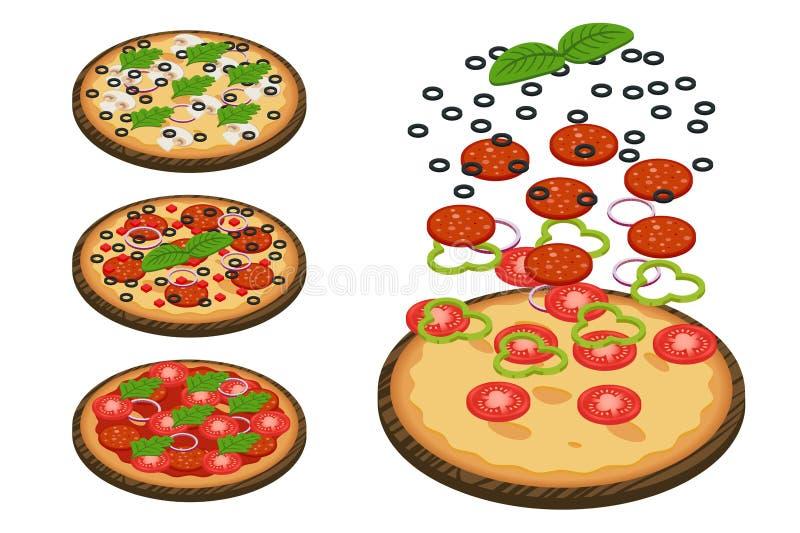 Iillustration di parecchie pizze isometriche con vario ingredien illustrazione vettoriale