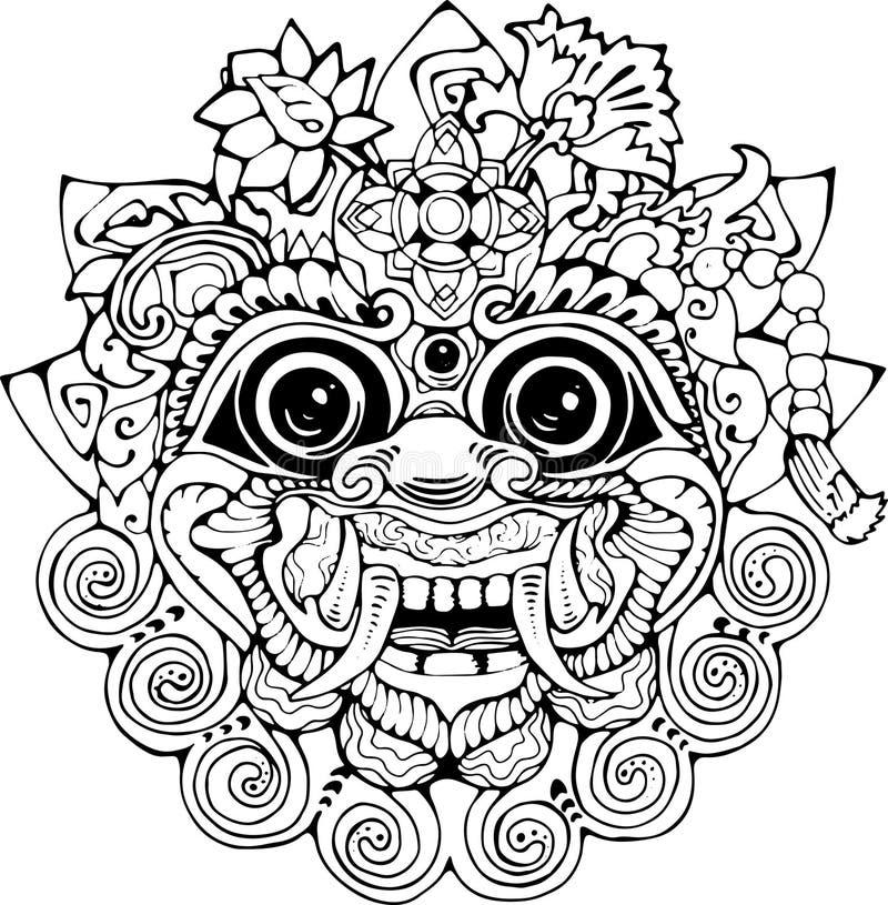 Iilustration av en thailändsk maskering Svartvit teckning av den östliga guden stock illustrationer