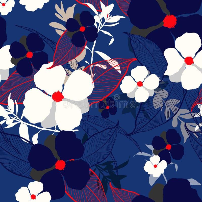 Iin floreciente grande del estampado de flores del verano hermoso el jardín Tro stock de ilustración