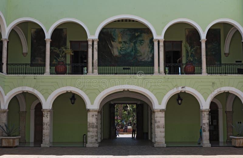IInnerbinnenplaats van overheid palace palacio DE gobierno Yucatan, Merida, Mexico stock fotografie