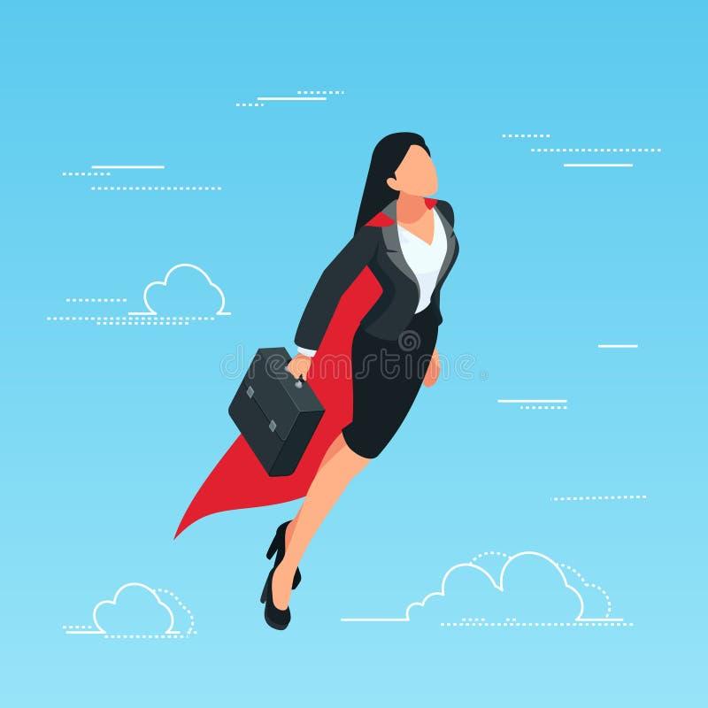 IIsometric bedrijfsvrouwenvliegen in de hemel als superhero vector illustratie
