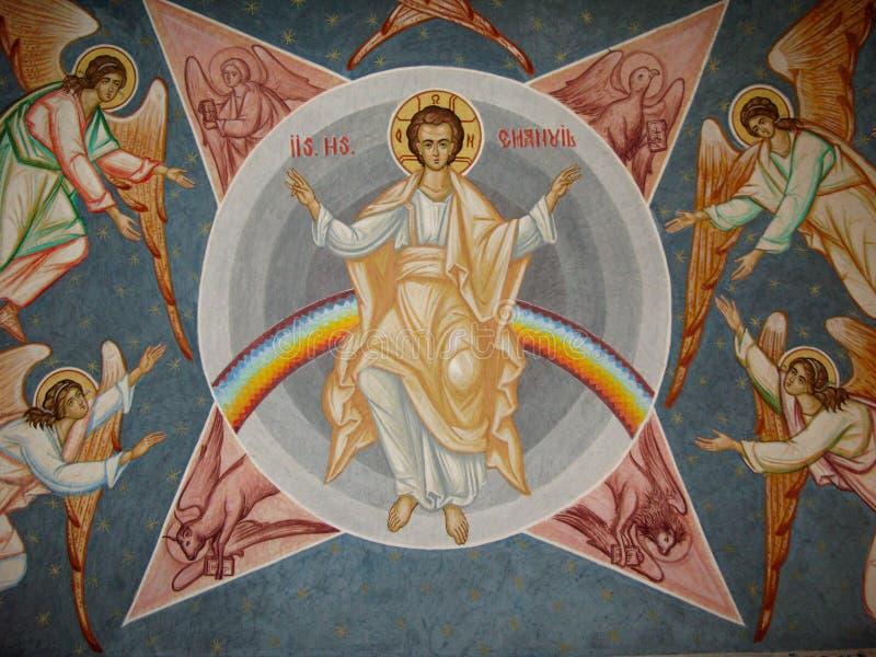 Iisus Hristos和天使 库存图片