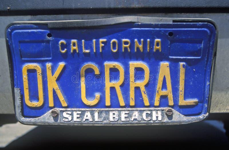 Ijdelheidsnummerplaat - Californië stock afbeeldingen