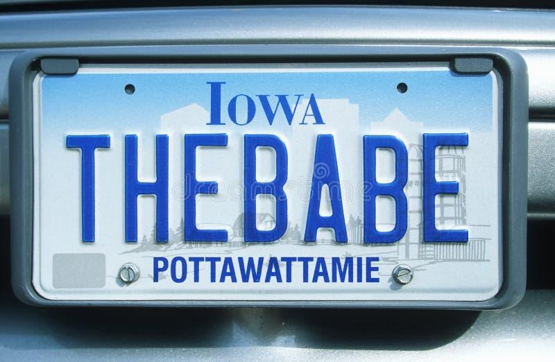 Ijdelheidsnummerplaat - Iowa stock foto's