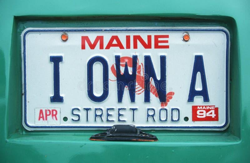 Ijdelheidsnummerplaat - Maine stock afbeelding