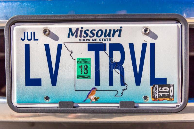 Ijdelheidsnummerplaat - Missouri - liefdes aan Reis stock afbeelding