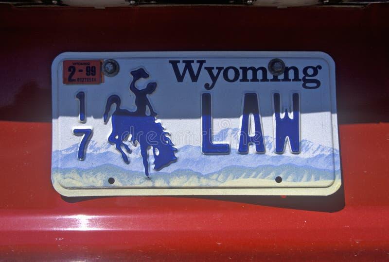 Ijdelheidsnummerplaat - Wyoming stock fotografie