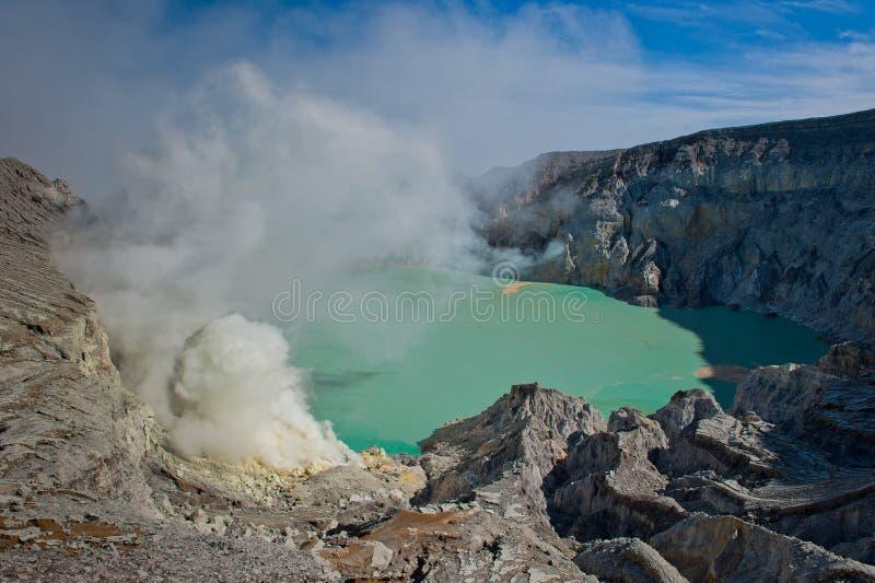 ijen印度尼西亚Java kawah火山 库存照片