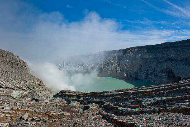 ijen印度尼西亚Java kawah火山 免版税图库摄影