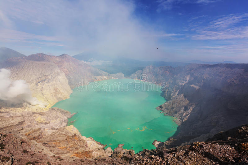 Ijen. Lake in a Crater of Volcano Ijen, Java, Indonesia
