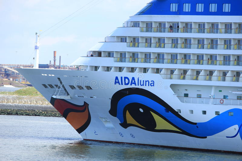 IJmuiden, the Netherlands -April 29th, 2017: Aida Luna leaving IJmuiden. IJmuiden, the Netherlands -April 29th, 2017: Aida Luna docked at Felison Cruise Terminal royalty free stock images