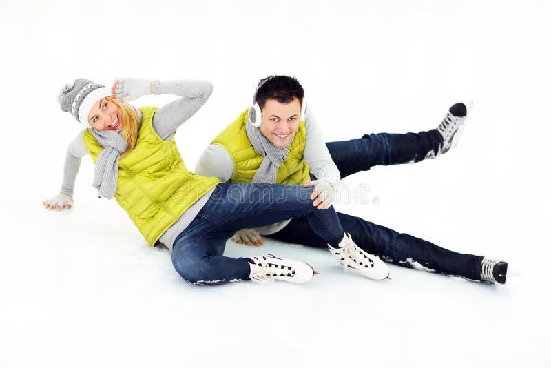 Ijs het schaatsen daling stock foto