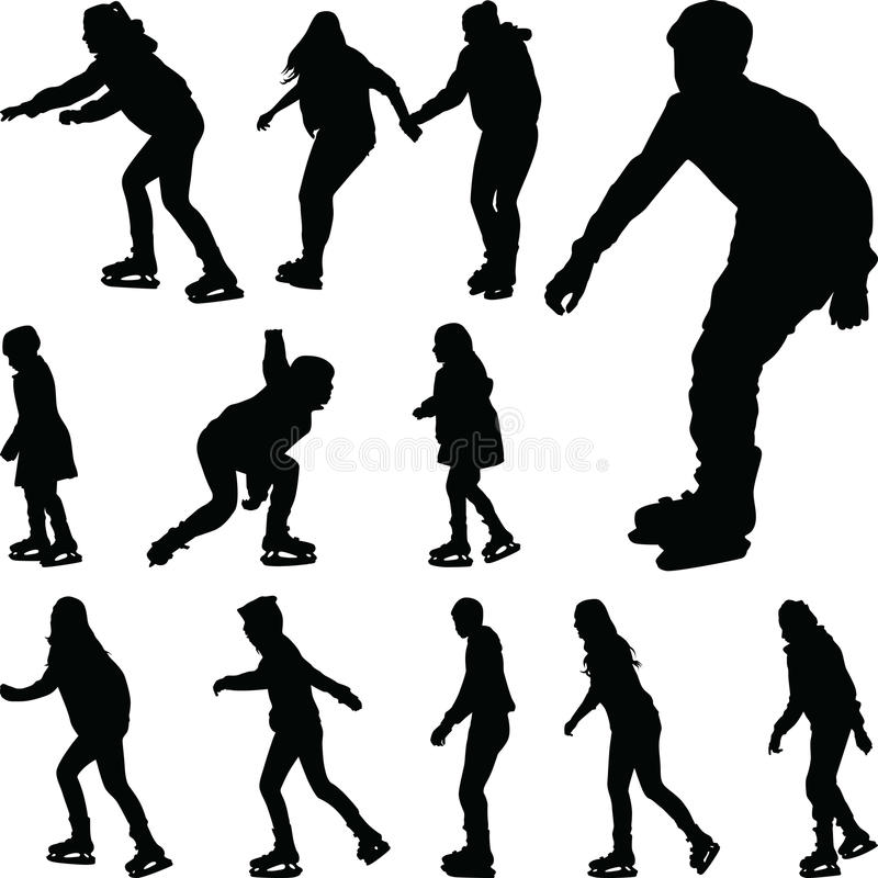Ijs het schaatsen silhouetvector royalty-vrije illustratie