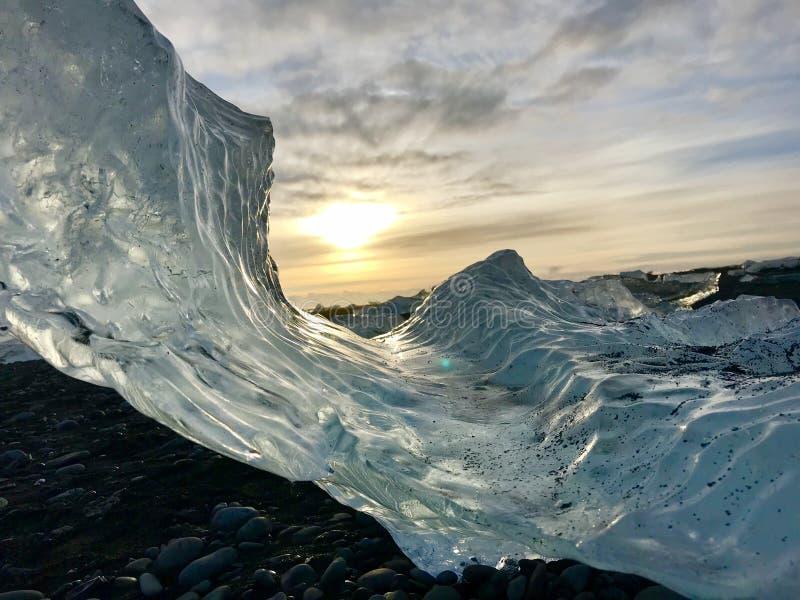Ijs op Diamond Beach Iceland stock fotografie