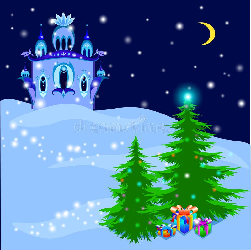 Ijs Royal Palace in magische de winterillustratie, vector stock illustratie