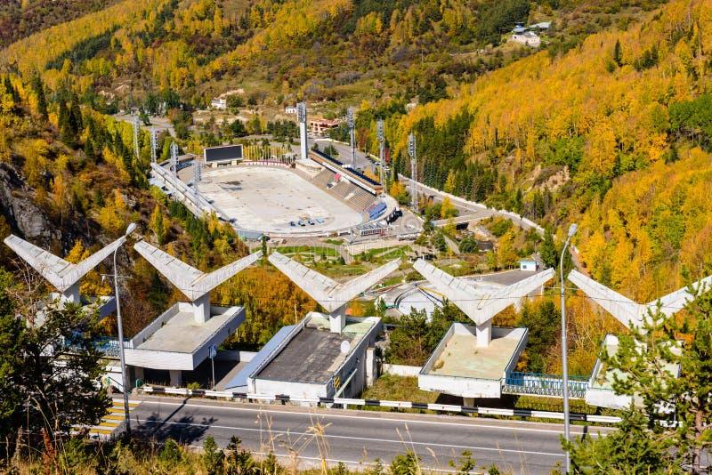 Ijs-schaatsende piste in de bergen, Kazachstan royalty-vrije stock afbeelding