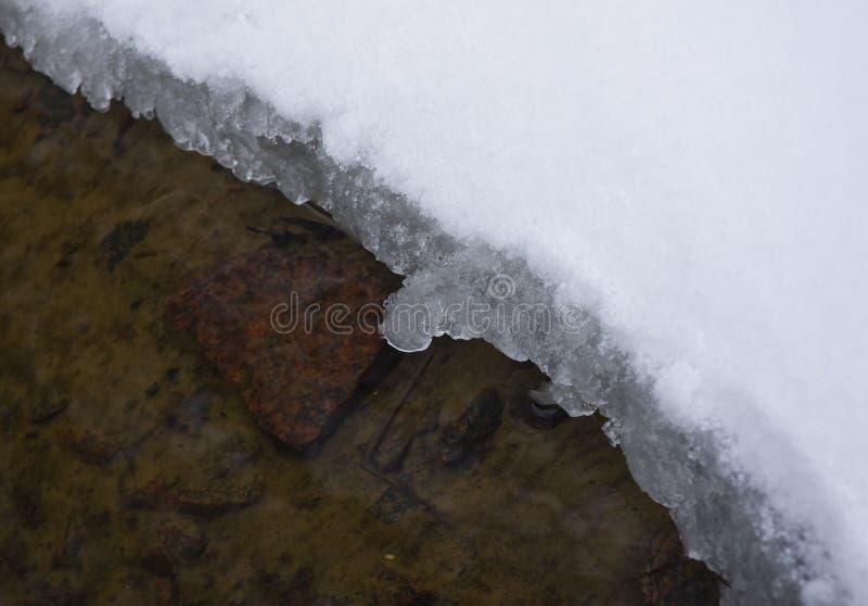 Ijs, sneeuw en duidelijk water stock foto