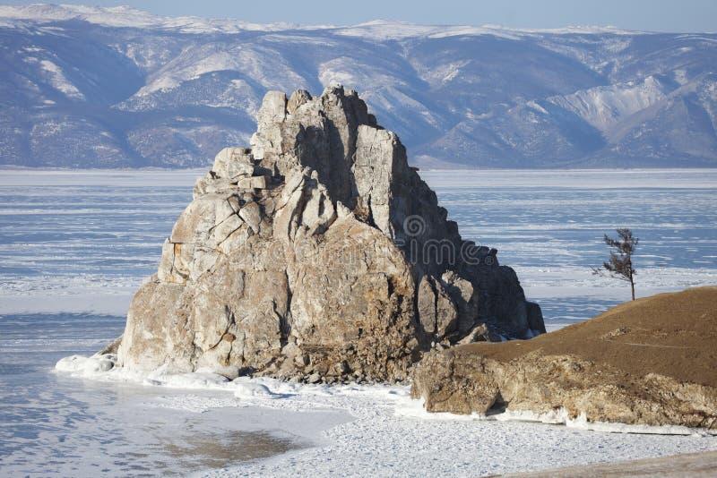 Ijs van Meer Baikal Shamankarots, de winteraard royalty-vrije stock foto