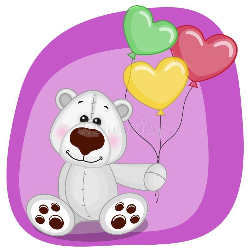 Ijsbeer met ballons royalty-vrije illustratie