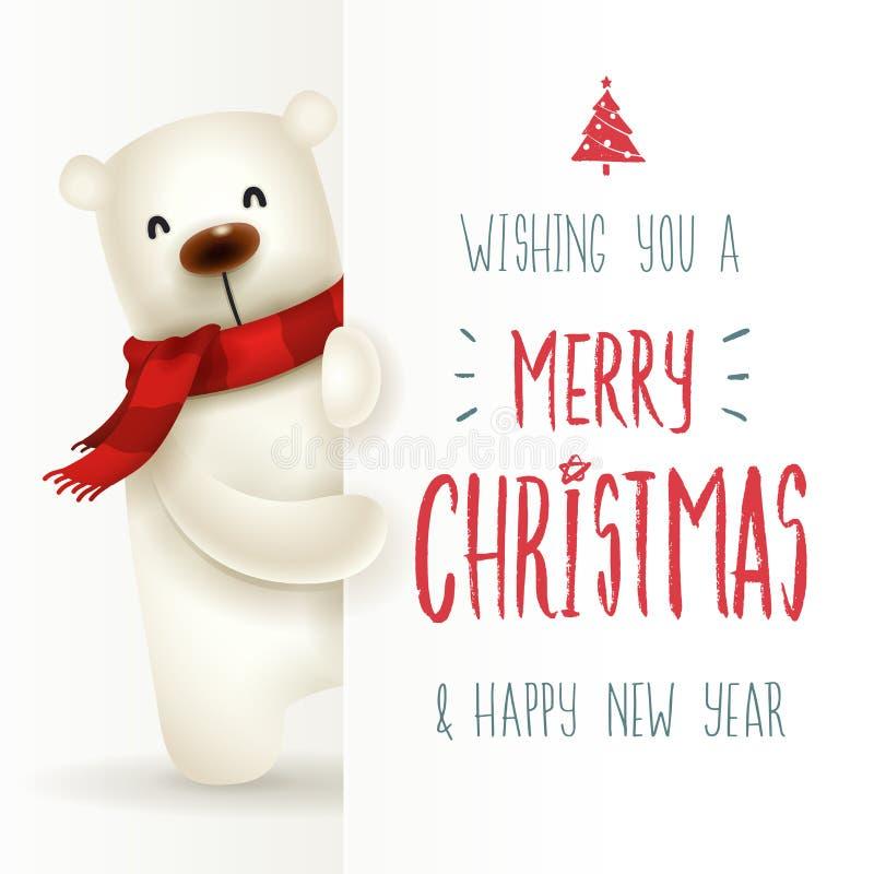 Ijsbeer met groot uithangbord Vrolijk Kerstmiskalligrafie het van letters voorzien ontwerp royalty-vrije illustratie