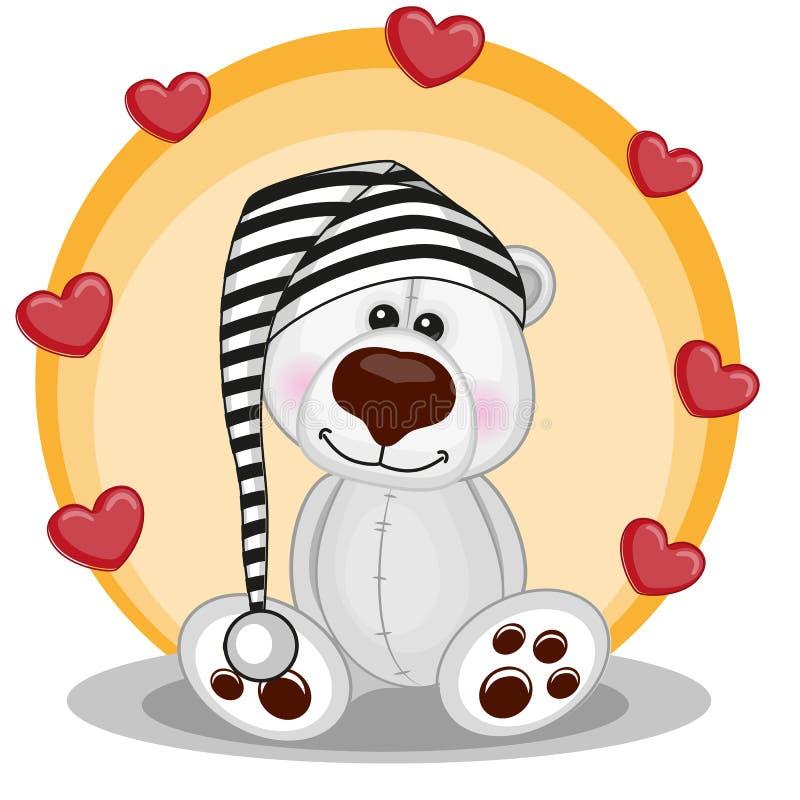 Ijsbeer met harten stock illustratie