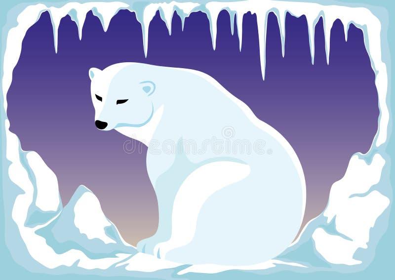 Ijsbeer op de het noordenpool royalty-vrije illustratie