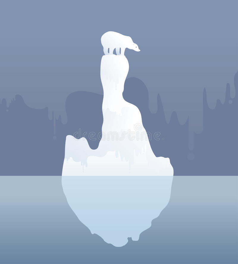 Ijsbeer op een ijsijsschol klimaatverandering, Vectorillustratie royalty-vrije illustratie