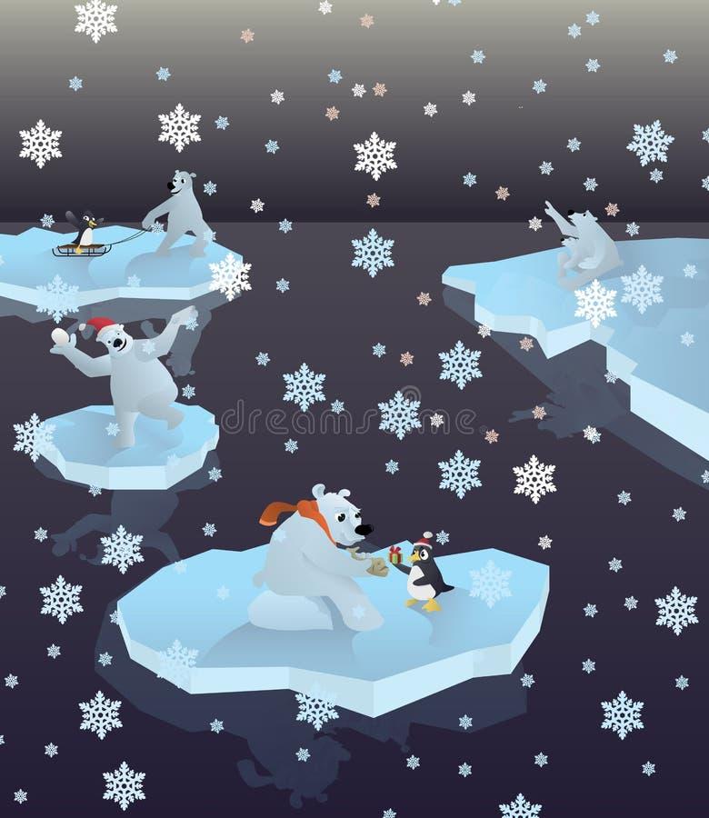 Ijsberen en pinguïnen royalty-vrije illustratie