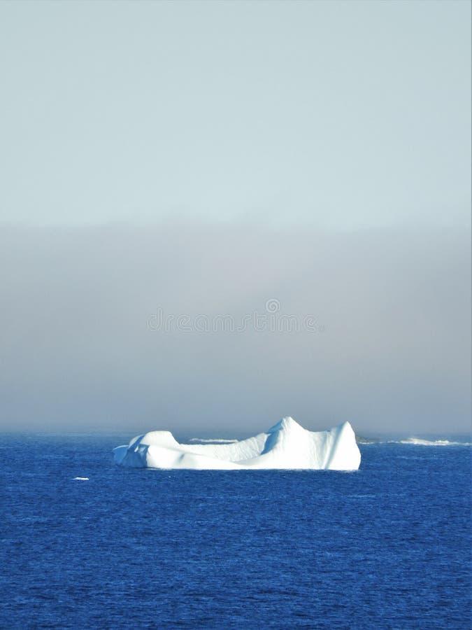 Ijsberg die in Water met Mist op Horizon drijven stock afbeeldingen