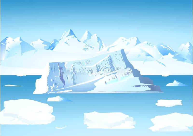 Ijsberg en gletsjer royalty-vrije illustratie