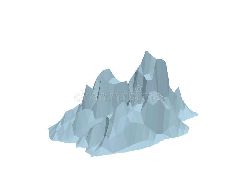 ijsberg Geïsoleerdj op witte achtergrond 3d vectorillustratie stock illustratie