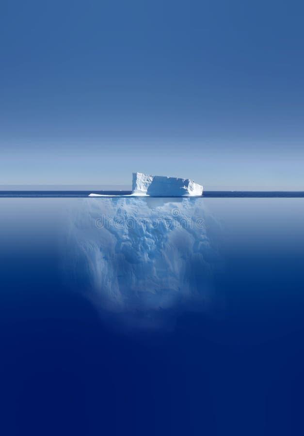 Ijsberg hierboven en hieronder stock afbeelding