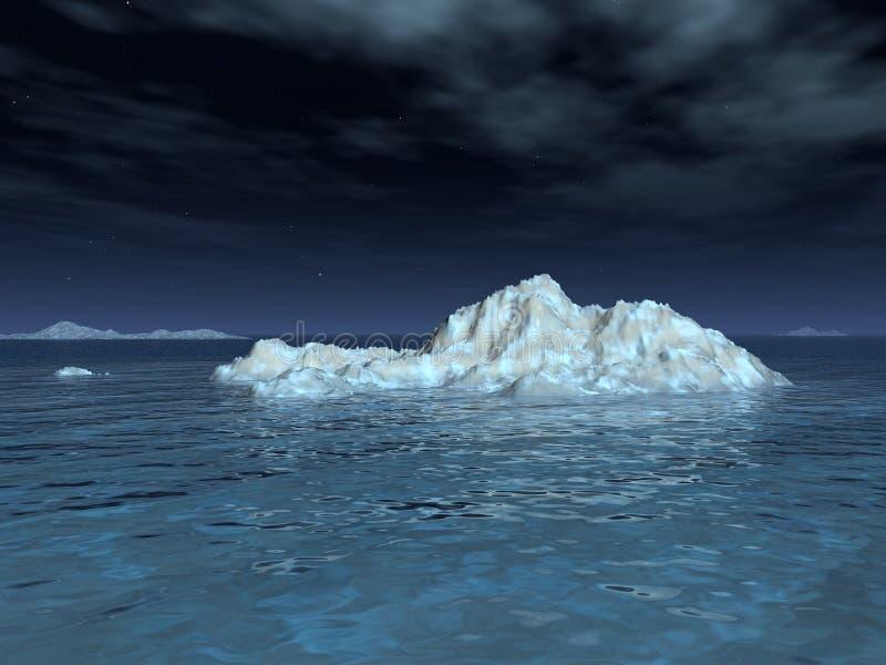 Ijsberg in Maanlicht stock illustratie