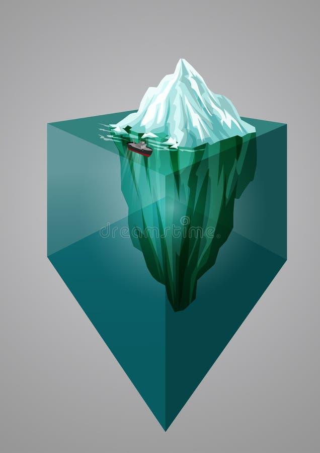 Ijsbergachtergrond Isometrische 3d illustratie Onderwater of hierboven - waterspiegel Vector illustratie stock illustratie