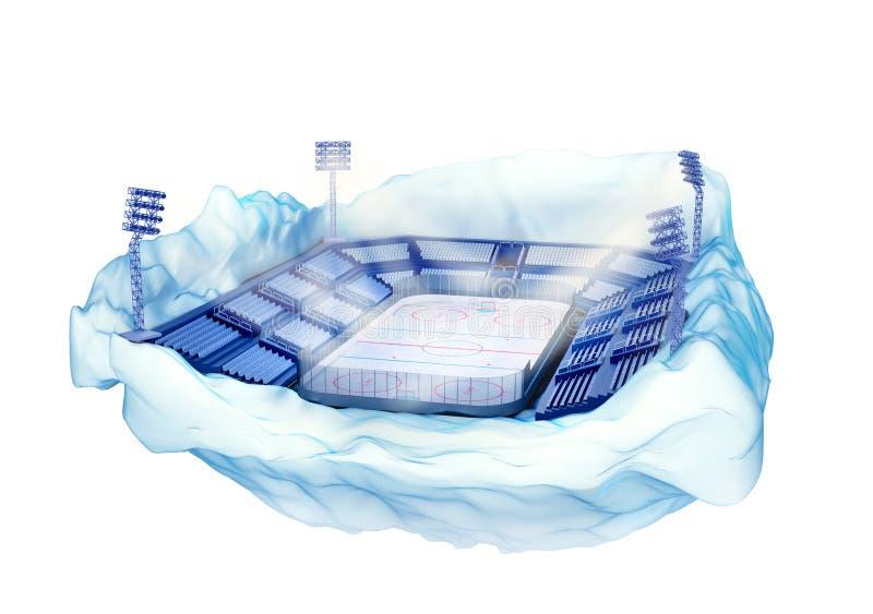 Ijsbergeiland met hockeystadion met lichte torens stock illustratie