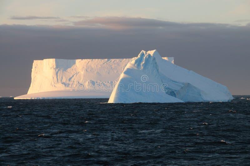 Ijsbergen in het avond licht royalty-vrije stock foto