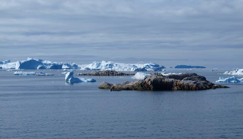 Ijsbergen, Ilulissat gebied, Groenland. royalty-vrije stock afbeeldingen