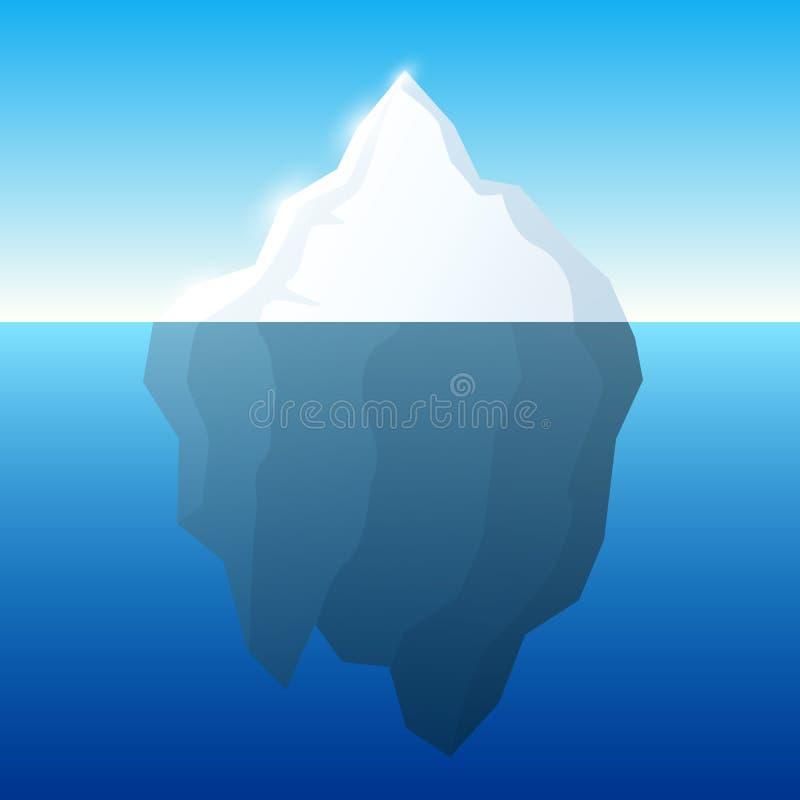 Ijsbergillustratie en achtergrond Ijsberg op waterconcept Vector royalty-vrije illustratie