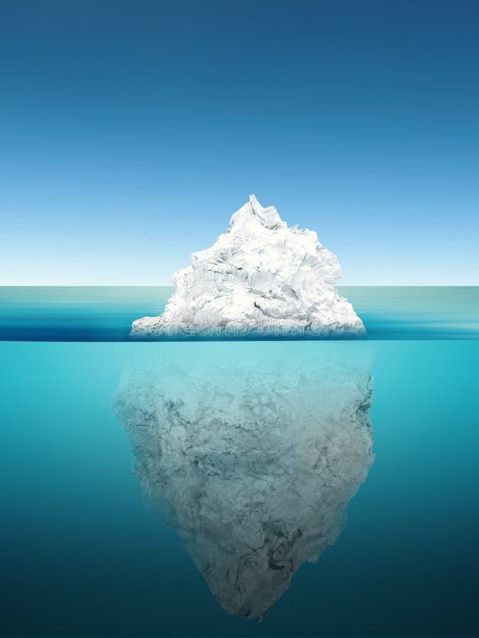 Ijsbergmodel op blauwe oceaan stock foto's
