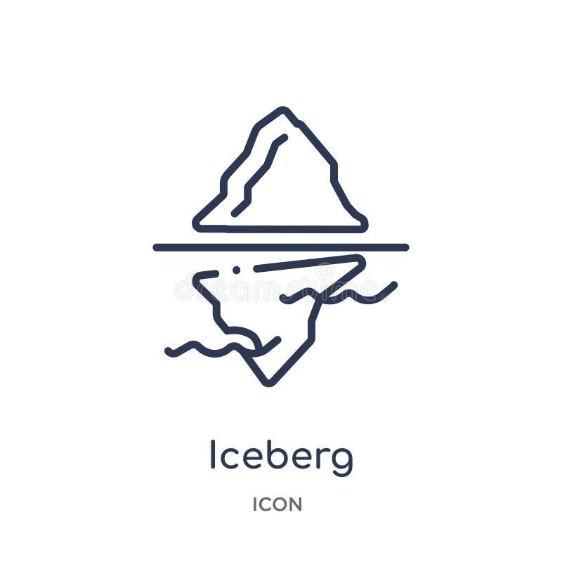 Ijsbergpictogram van de inzameling van het aardoverzicht Het dunne pictogram van de lijnijsberg dat op witte achtergrond wordt ge royalty-vrije illustratie
