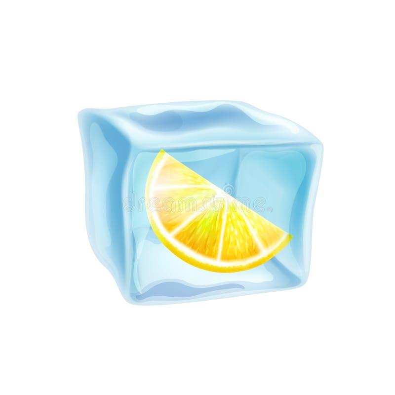 Ijsblokje met citroenplak, vectorillustratie royalty-vrije illustratie