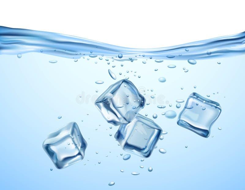 Ijsblokjes in water stock illustratie