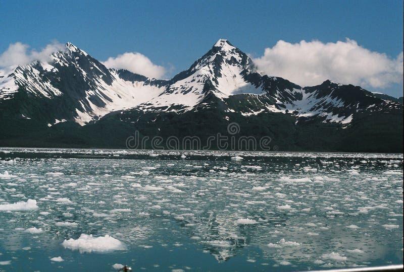 Ijsbrokken die in Oceaan dichtbij Bergen van Seward Alaska drijven royalty-vrije stock afbeelding