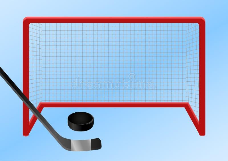 Ijshockey - doel De puck wordt geschoten langs het ijs in het ijshockeydoel vector illustratie